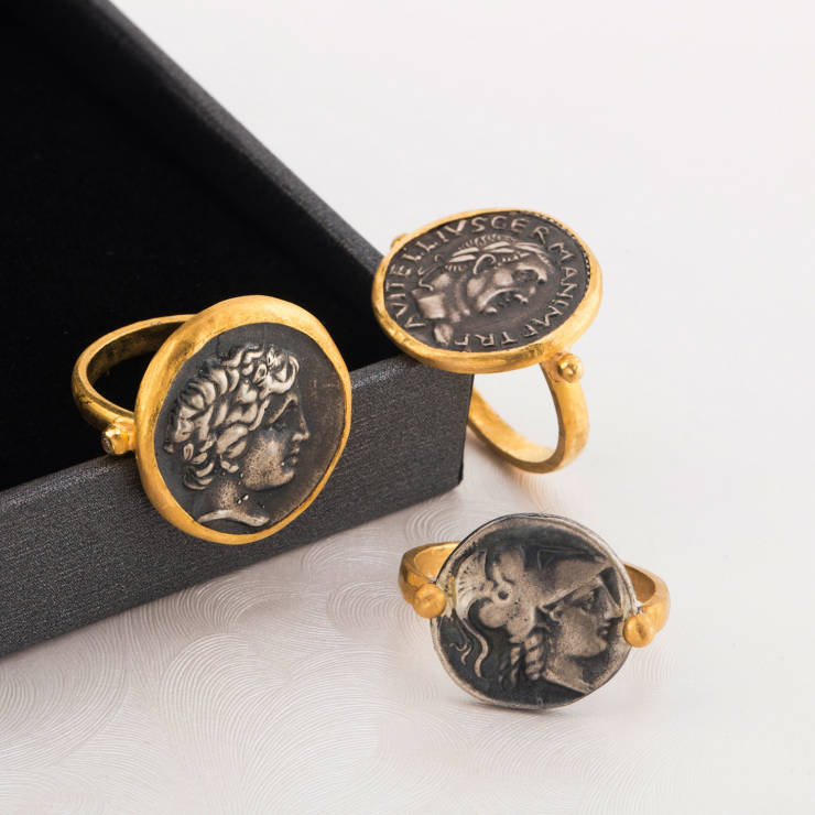 24K Pure Gold Roman Coin Rings