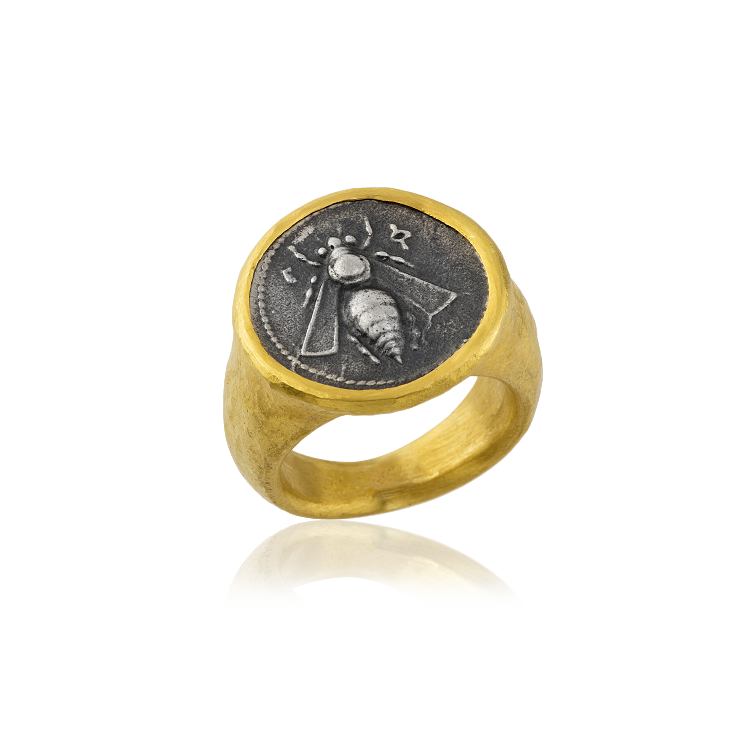 24K Pure Gold Scarabe Coin Rings