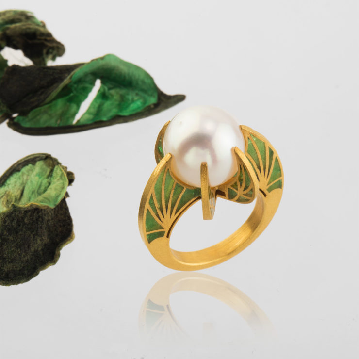 Southern Sea Pearl, translucent enamel and 24K pure gold.
