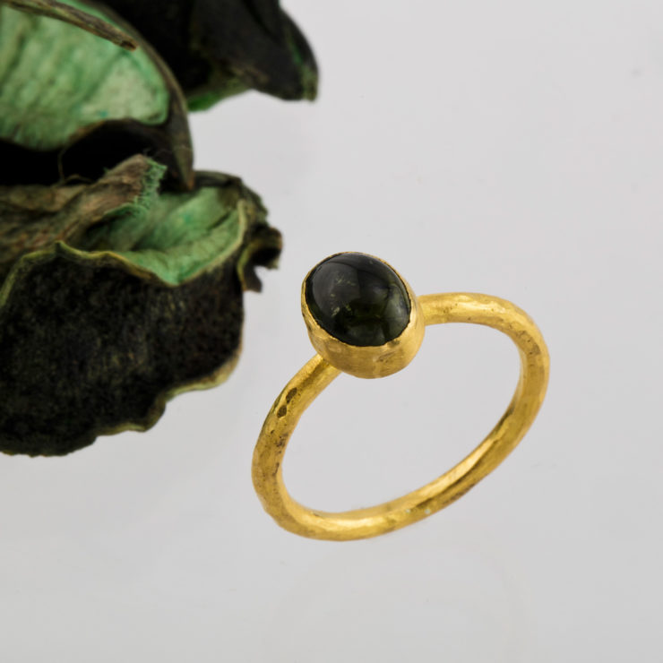24k hand crafted ring with tourmaline.